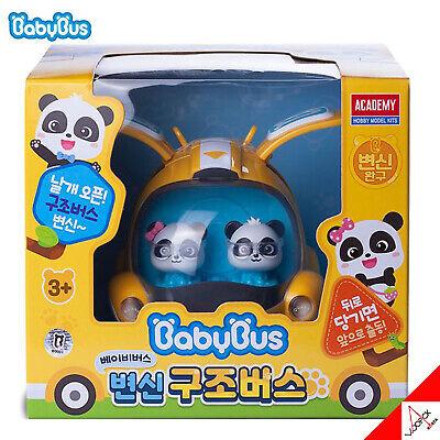 BabyBus Panda Transforming Yellow Bus Mini Car Pullback Academy -100% Authentic