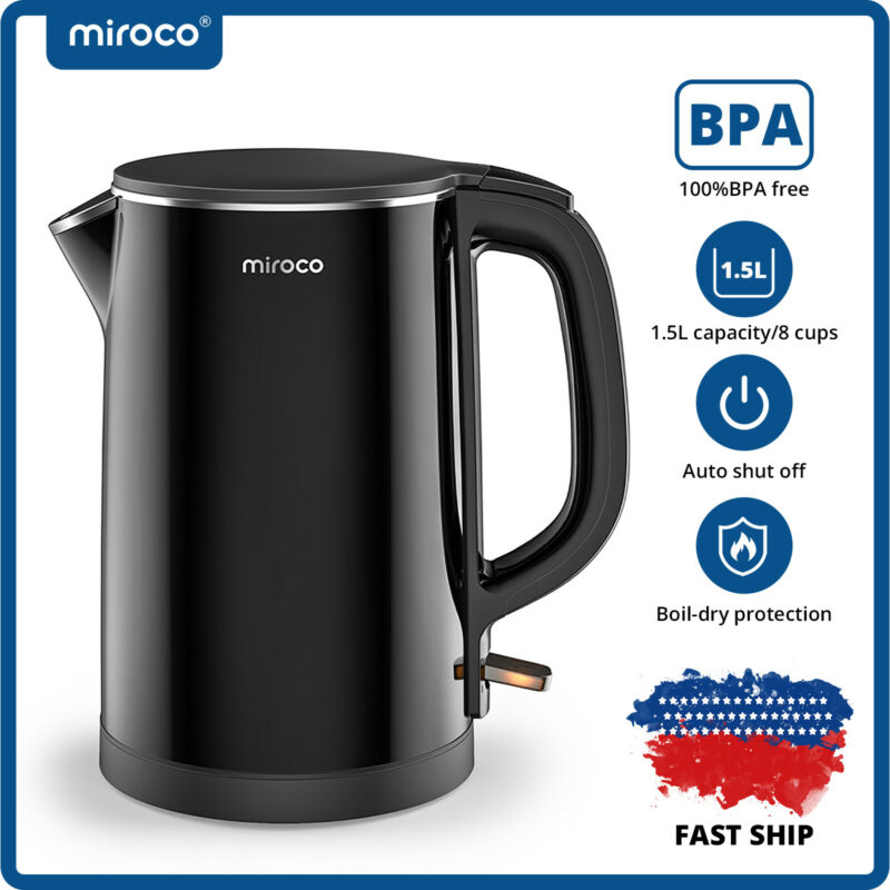 Miroco Double Wall 100% Stainless Steel Cool Touch Tea Kettle Electric Kettle