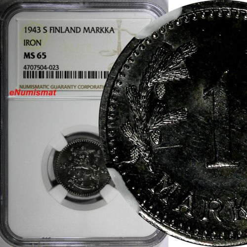 Finland Iron 1943 S 1 Markka NGC MS65 RARE WWII Issue TOP GRADED BY NGC KM# 30