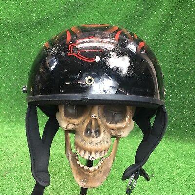 Harley-Davidson Hybrid Classic Half Helmet XS Black W Red Flames Motorcycle