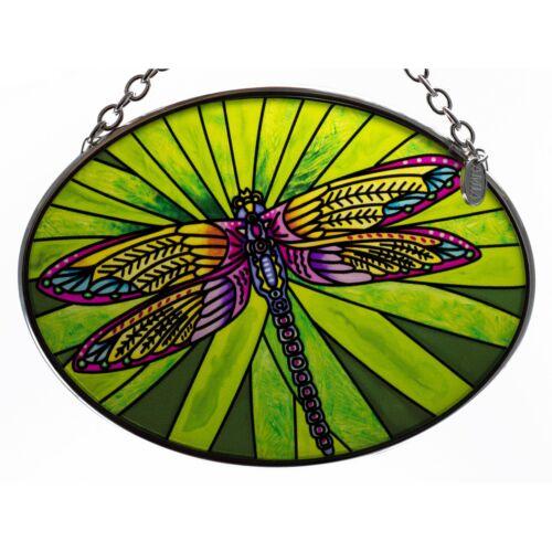 "Dramatic Dragonfly Suncatcher Hand Painted Glass By AMIA Studios 4.5"" x 3.25"""