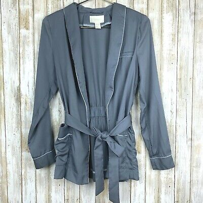 H&M Conscious Gray Waist Tie Open Blazer Jacket Top 4 S M Medium RARE