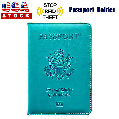 PU Leather Passport Cover Protector ID Name Card Case Travel Wallet Blue US