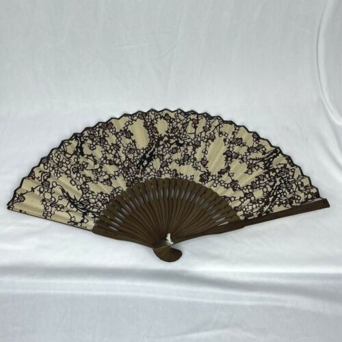 Japanese Brown Abstract Design Folding Hand Fan Wood Handle Vintage