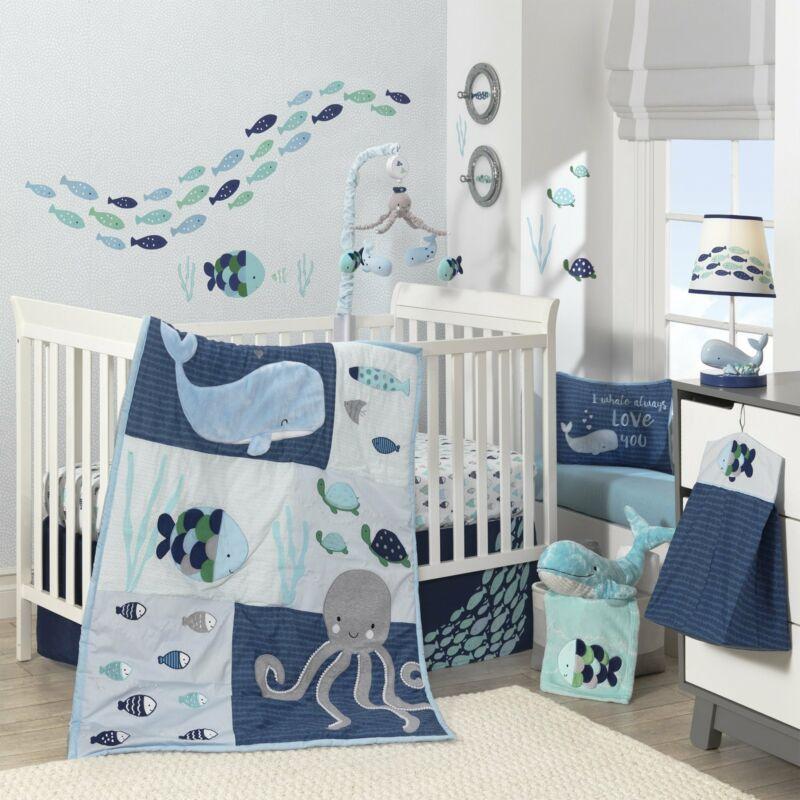 Lambs & Ivy Oceania 6-Piece Crib Bedding Set - Blue, Gray, White, Aquatic
