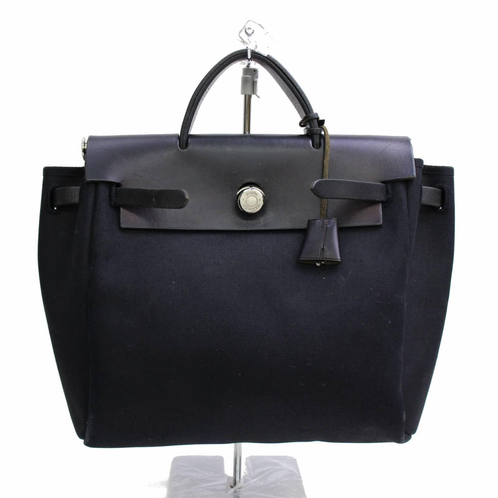 54d8a93da50b Details about Hermes Paris Womens Black Canvas Leather Herbag Purse Handbag  73014-B