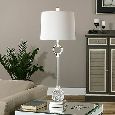 Sleek Silver Cut Glass Elegant Buffet Lamp | Contemporary Table Transitional ()