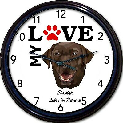 Chocolate Labrador Dog Puppy Wall Clock I Love My Lab Canine Dogs New 10""