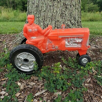 Antique 1960's Empire Blow Mold Plastic Farm Tractor W Man Toy Very Nice Conditi