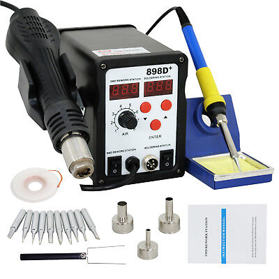 2 In 1 Digital Hot Air Rework Soldering Iron Station 898d Esd Plcc Smd