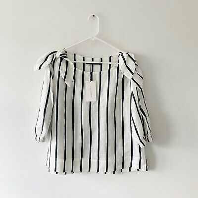 Zara Striped Blouse With Bows Puff Sleeve Cototn Blend Size Medium NWT