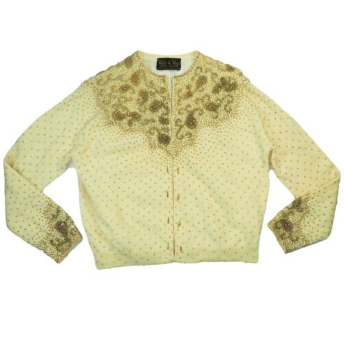 Vintage 50s 60s Vic & Vic Gold Beaded Embellished Wool Cardigan Cream Pinup