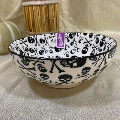 Coco & Lola Mugshotz Large Halloween Skulls Black Footed Candy Serving Bowl