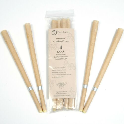 BeezNeez Wax Co. – Hollow Beeswax Candle Cones – 4 pack– Do not use for ear