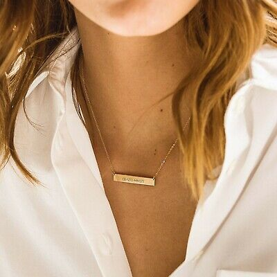 18K Yellow Gold Bar Necklace, Initial Bar, Nameplate Bar, Custom Name Necklace Yellow Gold Nameplate Necklace