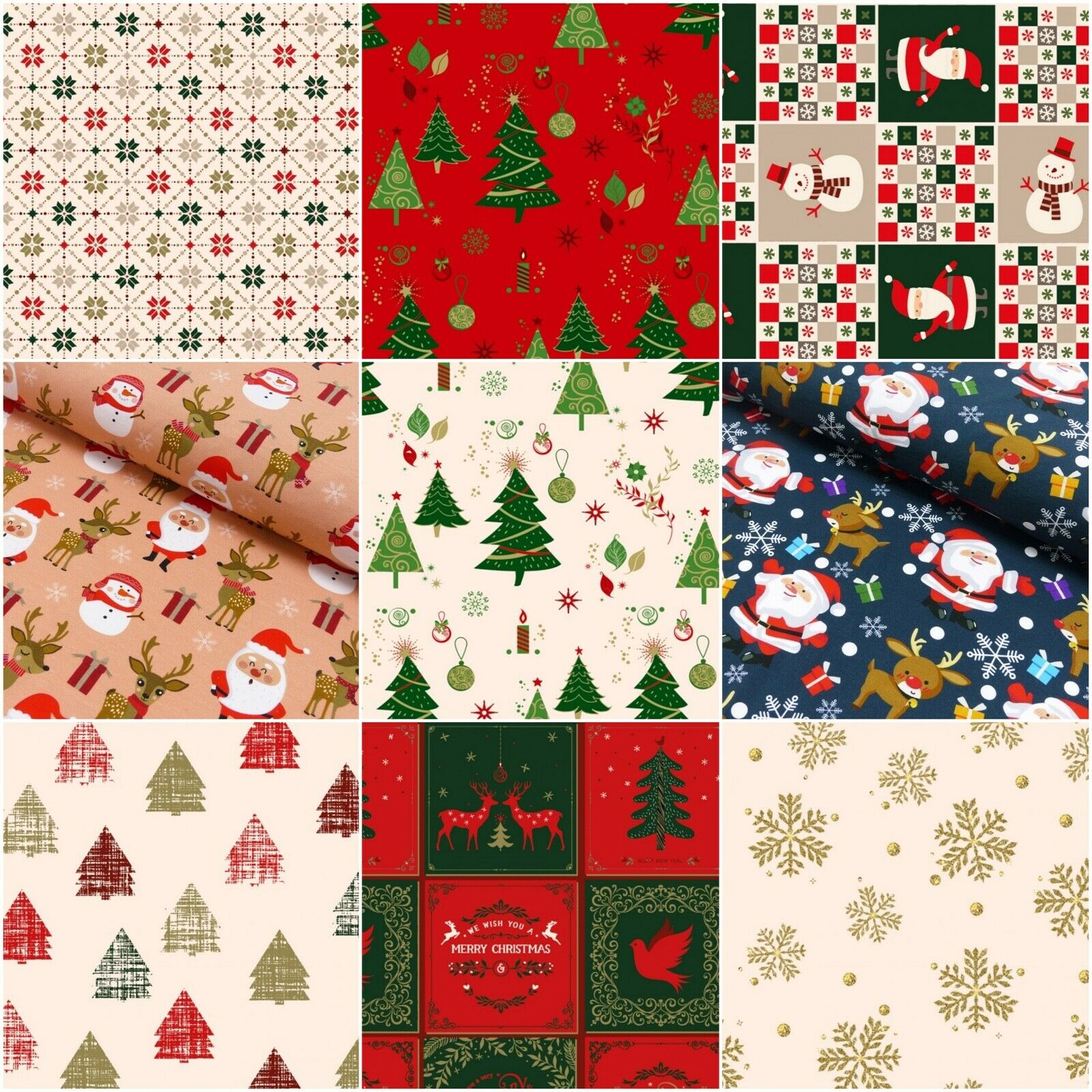 Weihnachts Stoffe Jersey & Baumwolle & Sweat / 28 Motive Meterware Weihnachten