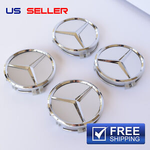 MERCEDES BENZ WHEEL CENTER CAPS EMBLEM CHROME 75MM 4PC SET AMG EE06