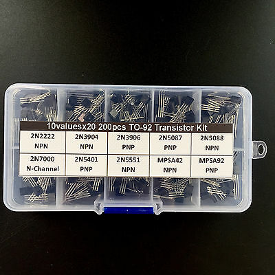 To-92 Transistor Assortment Assorted Kit 2n2222 2n3904 Mpsa92etc 10values X20