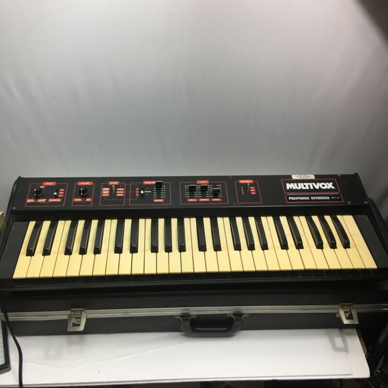Multivox MX-65 Polyphonic Synthesizer Vintage Tested Working with case!