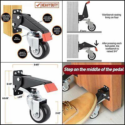 Set Of 4 Workbench Caster Kit Heavy Duty Retractable Work Bench Steel Wheel 600l