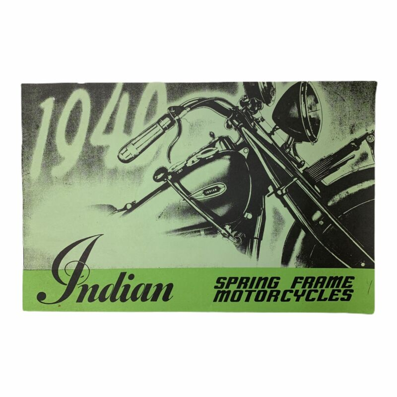 Rare 1940 Indian Motorcycle Canada Brochure Book Scout Chief Four Sidecar