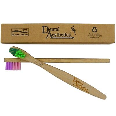 2 x Childrens Bamboo Toothbrushes ~ Small Soft Bristles for Kids & Toddlers 2+