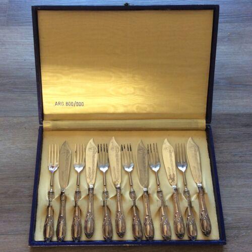 VINTAGE 1960s ITALY 800 SILVER HANDLED ARG 800/000 DESSERT SET KNIVES FORKS 6x
