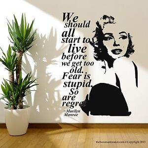 Marilyn Monroe Quote Regret Wall Decal Stickers Decor Easy
