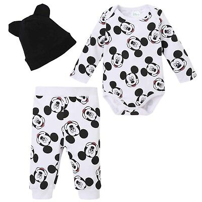 Disney Mickey Mouse Baby Boys Girl Outfit Clothes Gift Set Bodysuit Trousers Hat](Disney Boys Clothes)