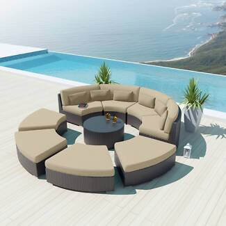 IN STOCK Outdoor Garden Wicker Furniture Sectional Round Lounge
