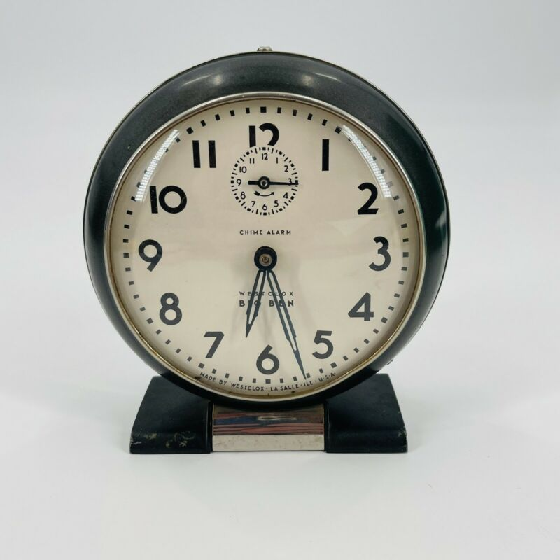 Vintage 1934 Westclox Big Ben 69-C A1 Art Deco Alarm Clock - Works, Very Good
