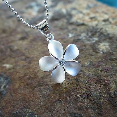 Plumeria Flower Necklace (20mm Plumeria Flower Hawaiian Genuine Sterling Silver Pendant Necklace)