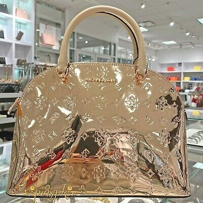 Michael Kors Emmy Large Dome Satchel Rose Gold Metallic Patent PVC Glossy Bag
