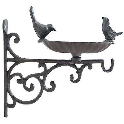 Wall Hanging Bird Bath Feeder Cast Iron Robin Decorative Birds Outdoor Garden