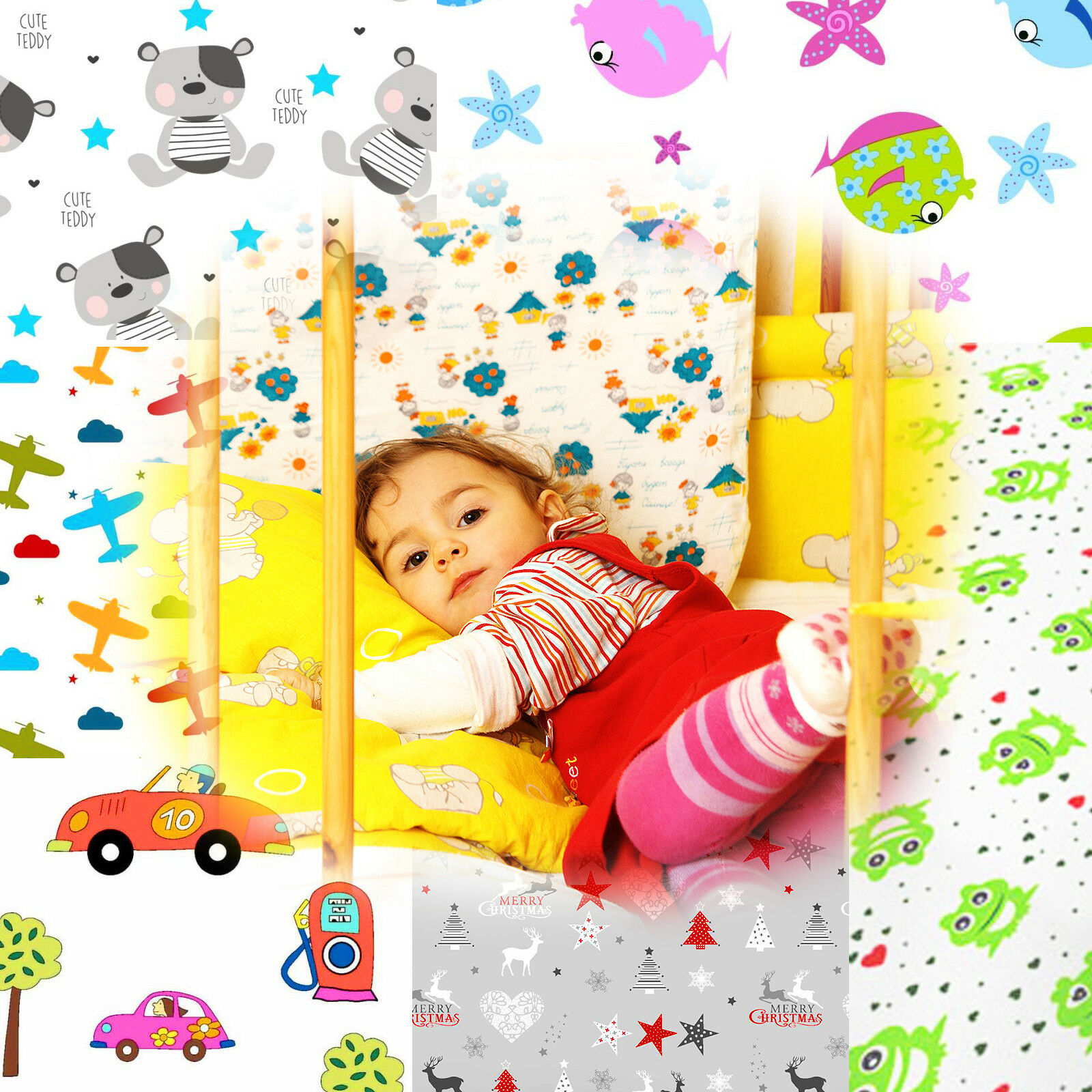 Kinder Baby Bettlaken Spannbetttuch Spannbettlaken Spannbetttücher Muster&Größe♛
