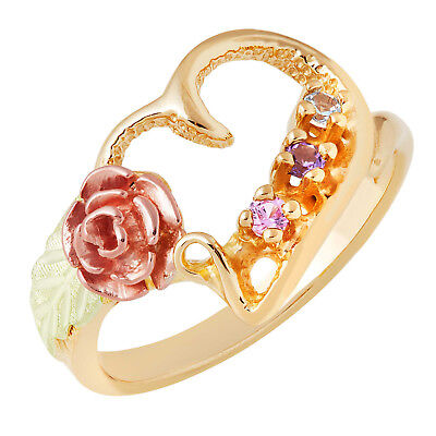 Stylish 10K Black Hills Gold Heart and Rose 1-6 Genuines Stones Mothers Ring 10k Gold Mothers Heart