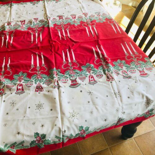 Vtg Christmas table cloth cotton white w holly red green snowflakes retro kitchy