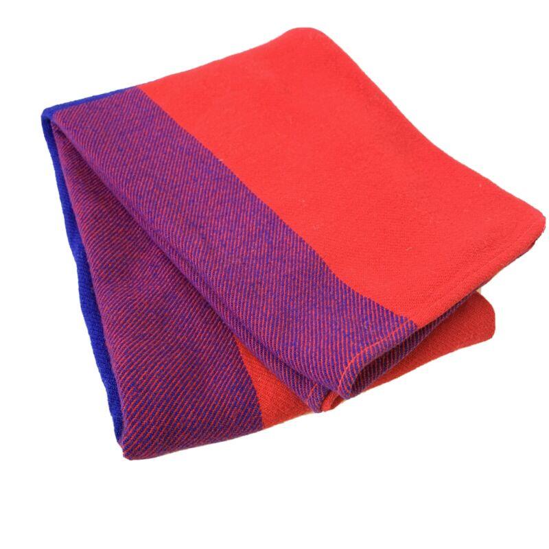 """Virgin Atlantic Airlines Blanket Red Blue Purple Throw Wool Blend Vint 55"""" X 41"""""""