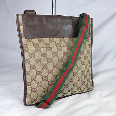 Authentic Vintage Gucci Brown GG Canvas Crossbody Messenger Shoulder Bag Purse