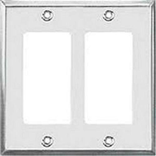 (1 pc) 97402 Decorator 2-Gang Stainless Steel Wall Plate Metal Decora Wallplate