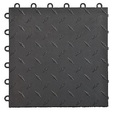 Speedway Garage Tile Mfg. Black Garage Floor Tiles - Diamond plate
