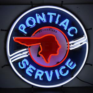 neon sign Authorized Pontiac Service lamp GM Indian head Licensed NEONETICS