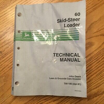 John Deere 60 Technical Service Shop Repair Manual Skid Steer Loader Book Tm1185