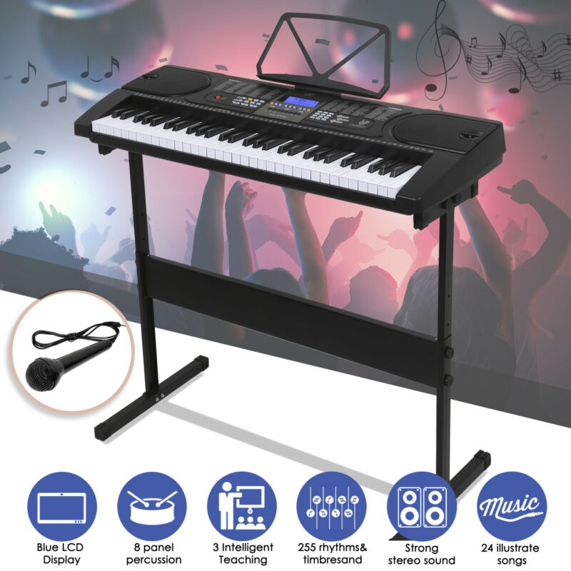 61 Key Electronic Keyboard Electric Music Digital Piano Organ with Stand Black