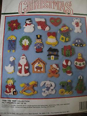 Bucilla FELT Applique Christmas Tree ORNAMENT KIT,TRIM THE TREE COLLECTION,82840