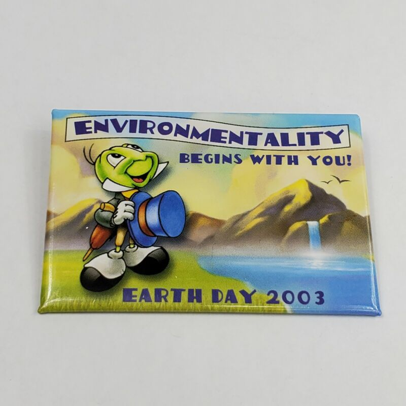 Disney Pin Earth Day 2003 Jiminy Cricket Button #21509 Cast Member Exclusive New