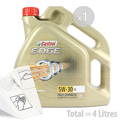 Car Engine Oil Service Kit / Pack 4 LITRES Castrol EDGE TITANIUM 5w-30 LL 4L