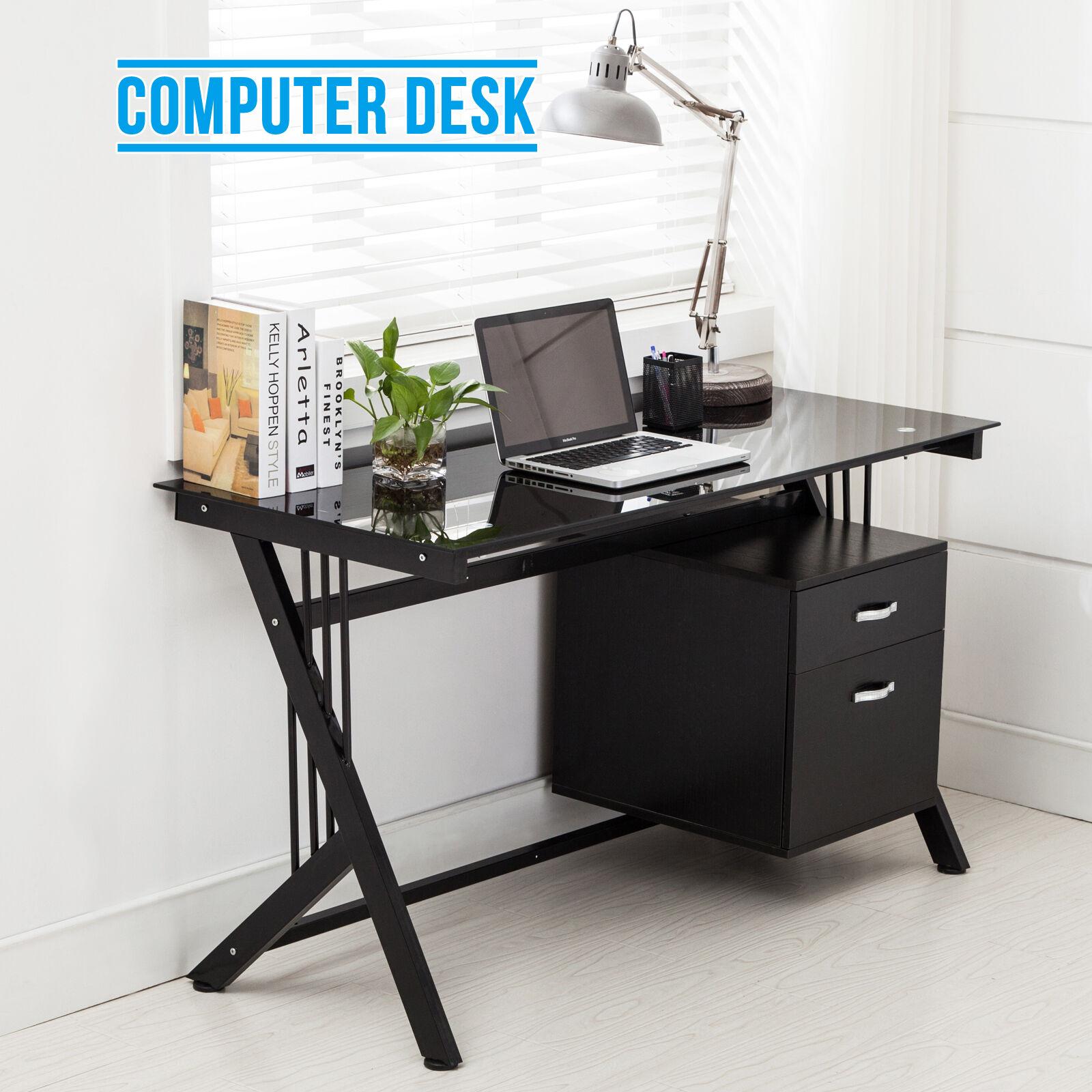 Black computer desk pc table glass top side drawer home for Best workstation table