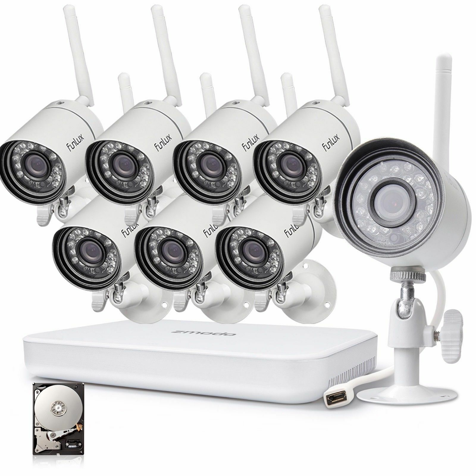 Купить Funlux - Funlux 1080p 8CH NVR 1.0 Megapixel HD Wireless Home Security Camera System 1TB
