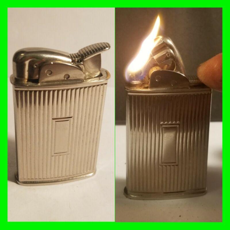 Vintage EVANS Supreme Petrol Lighter Art Deco Ribbed Design Excellent Condition